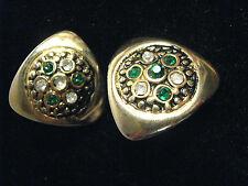 ORECCHINI CLIP METALLO DORATO TRIANGOLARI STRASS vintage earrings J9
