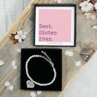 Silver Beaded Bracelet Best Sister Ever Gift Box Jewellery Birthday Present Idea