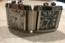 """Cartier """"Tank Francaise"""" (Ref 2945) Stainless Steel Dual-time Alarm Desk Clock"""