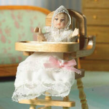 Dolls House Doll: Porcelain Baby Doll  in White dress & Bonnet  in 12th scale
