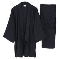 Men's Japanese Kimono Yukata Cotton Bathrobe Bath Robe Gown Sleepwear Pajama Set