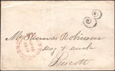 "CANADA, 1857. Stampless ""3"". Kingston - Prescott"