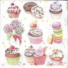 2 Serviettes en papier Cupcakes & Bonbons Decoupage Paper Napkins Sweets
