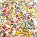100Pcs Mixed Color 2 Holes 15mm Round Shape Wood Buttons Lots DIY Sewing Craft