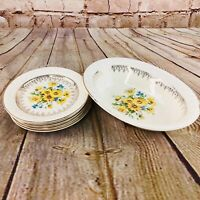 VTG Taylor Smith & Taylor TST Floral Yellow Daisies, serving bowl , small plates
