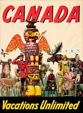 Canada Vacations Unlimited 1947 Vintage Poster Print Canadian Travel Art