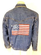 Resistol Mens Rivet Button Down Cowboy USA/American Flag Blue Denim Jacket Large