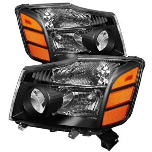 Fit Nissan 04-15 Titan / 04-07 Armada Black Housing Replacement Headlights
