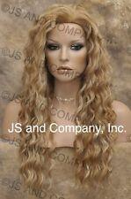 "Human Hair Blend Long Wavy Blonde Mix mix 22"" Wig Heat Safe sca 27-613"