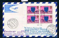 66100) LH / LAUDA FF München - Los Angeles 28.3.93, Karte ab Jersey