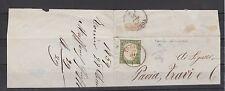 FRANCOBOLLI 1859 SARDEGNA C.5 VERDE GIALLO OLIVASTRO TORINO 29/12 Z/4976