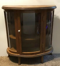 Vintage Butler Curved Glass Curio Case Cabinet Wall Table Top Shelf