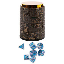 7 Set Metal Polyhedral Dice for  DND +Dice Cup Black #C