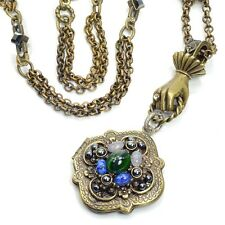 NEW SWEET ROMANCE VICTORIAN HAND HOLDING CLOVER LOCKET NECKLACE ~~MADE IN USA~~