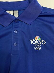 NEW! Tokyo Olympics 2020 NBC Embroidered Logo Blue Polo Shirt Men's XL Golf