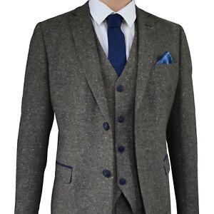 Mens Brown Tweed Herringbone Wedding Wool Slim Fit Peaky Blinders 3 Piece Suit