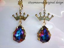 Art Deco crown earrings Art Nouveau Edwardian vintage wedding style crystal drop