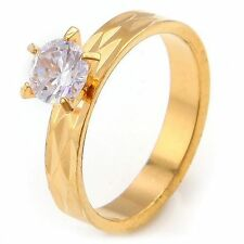 10K Yellow Gold Filled White Sapphire Engagement Promise Ring No. 304 Size 6.5