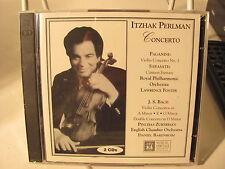 2 cd set new, Itzhak Perlman concerto, Bach, Paganini, Sarasate