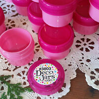 24 PRETTY PINK Cosmetic 1/2oz Plastic PINK Jars Lids Container 3803 DecoJars USA