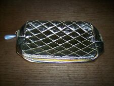 NEW Without Tags AVON Metallic Gold Cosmetic Make-up Bag Pearl Zipper Pull