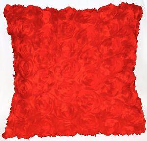 Sa211a Red 3D Rose Flower Taffeta Satin Cushion Cover/Pillow Case*Custom Size*