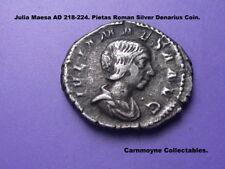 GIULIA MESA AD218 -224. PIETAS ROMANA Argento Denarius Coin. AH6934.