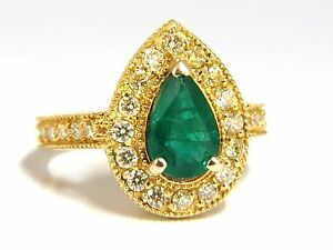 2.85ct Natural Pear Brilliant Emerald diamond ring 14kt G/Vs +Fancy Yellows+