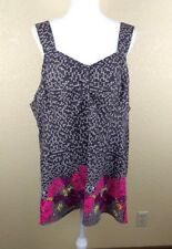 Taillissime Womens Tank Top 26W Floral Pink 3X Light Weight Sweatheart Neckline