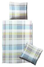 Biberna Linon Bettwäsche Set 135x200cm 100% Baumwolle Reißverschluss grau/blau