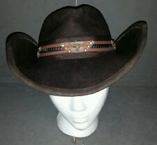 2422d8712c2 SCALA WESTERN WOOL FELT WATER REPELLENT CRUSHER LEATHER BAND STEER CONCHOS  HAT