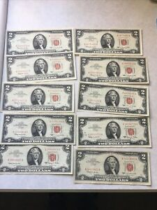 Lot Of 10 Red Seal 2 Two Dollar Bills 5