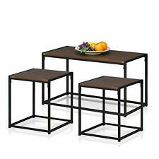 Modern Industrial Style 3 Piece Table Set - Dark Wood with Metal Base