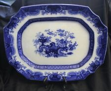 Flow Blue Indian Jar Pattern Jacob and Thomas Furnival & Co. Flow Blue Platter
