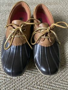 Sperry Top Sider Brown Waterproof Rubber Ankle Duck Rain Boots Womens Size 8