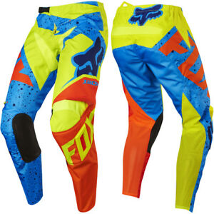 FOX RACING YOUTH KIDS MOTOCROSS 180 PANTS NIRV YELLOW / BLUE quad bike trousers