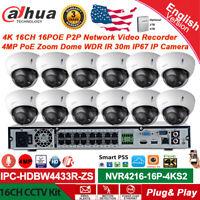 Dahua 16CH 16PoE P2P CCTV System 4MP 5X Zoom Dome IP Camera IPC-HDBW4433R-ZS Lot
