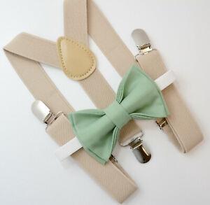 Kids Boys Mens Tan Khaki Suspenders & SAGE Green Bow tie Infant - ADULT SET