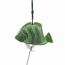 Japanese Nambu Cast Iron Furin Wind Chime Green Tropical Fish, Made in Japan