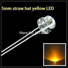 10pcs NEW 5mm Straw hat YELLOW LED Wide Angle Light Super Bright Emitting Diode
