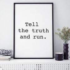 "JUNIWORDS Poster mit Rahmen ""tell the truth"" Geschenk Geburtstag DIN A4 A3 A2 A1"
