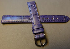 New Womens Purple Genuine Leather Crocodile Bamboo Grain 13mm Watch Band Strap