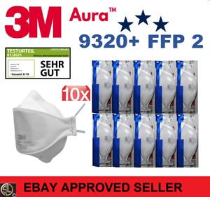 10er Pack  3M™ Aura™ Atemschutzmaske 9320+ FFP2 FFP 2 ohne Ventil - Mundschutz