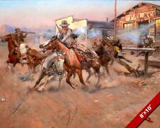 OLD WEST OUTLAWS 45 COLT GUN SMOKE OIL PAINTING ART REAL CANVAS GICLEEPRINT