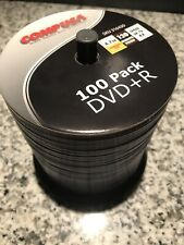 100 Pack Recordable DVD+R Discs, Around 90 Remain, Open Package, COMP USA 4.7GB