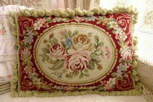 "20"" French Aubusson Design Rose Garland Burgandy Beautiful Needlepoint Pillow"