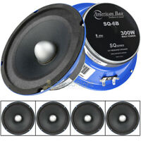 "4 Pack 6.5"" Midrange Speaker 8 Ohm 300W Power Bullet Audio American Bass SQ-6B"