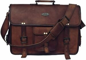 18 Inch Retro Goat Leather Laptop Messenger Bag Office Briefcase College Bag A3