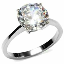 PLATINUM/STEEL ALLOY HUGE 3.87 CARAT SPARKLING SIMULATED MOISSANITE RING SIZE 9