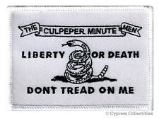 DON'T TREAD ON ME CULPEPER MINUTE MEN FLAG PATCH embroidered iron-on WHITE USA